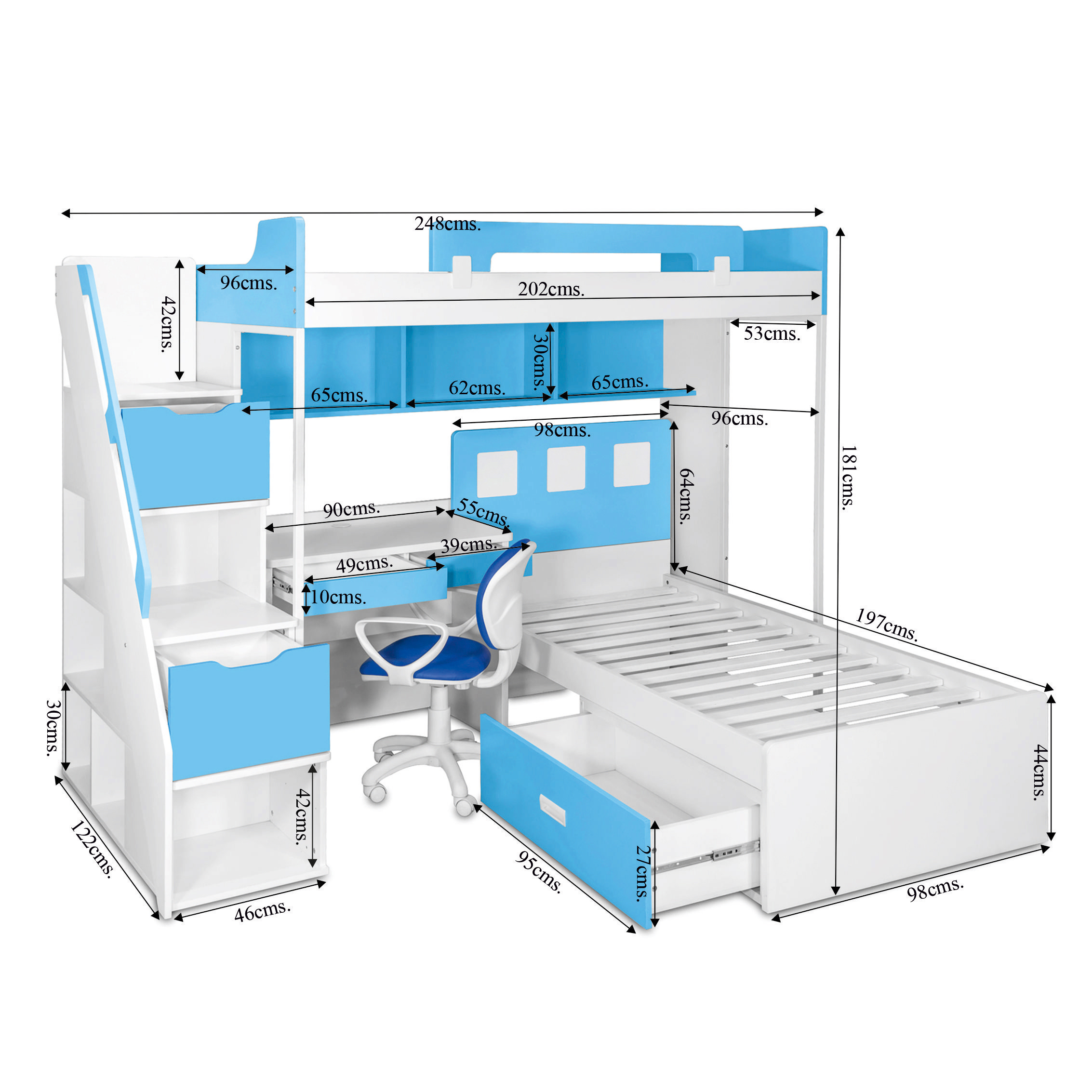 Milano Bunk Bed With Study Table Chair Kids Bunk Beds Online