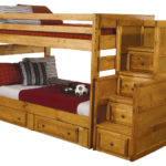 wooden bunk beds with drawers