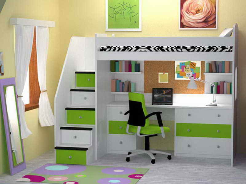 Adult bunk bed with desk